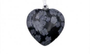 Pendentif Coeur 20mm Obsidienne Flocon d